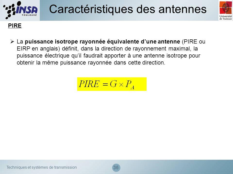 Techniques et systèmes de transmission 36 Caractéristiques des antennes PIRE La puissance isotrope rayonnée équivalente dune antenne (PIRE ou EIRP en
