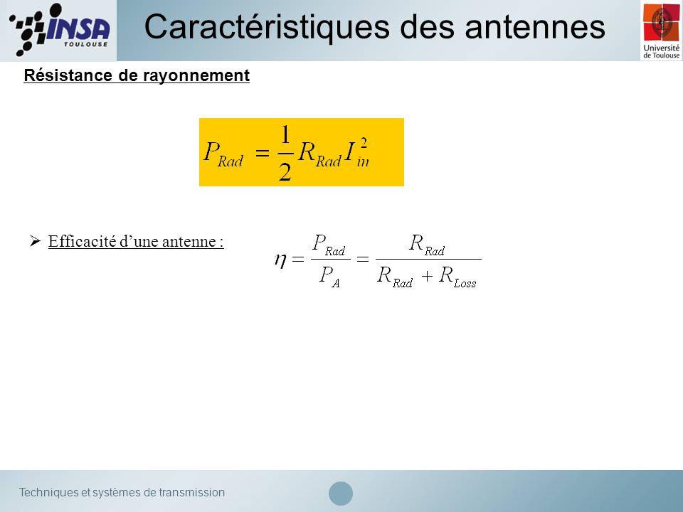 Techniques et systèmes de transmission Résistance de rayonnement Caractéristiques des antennes Efficacité dune antenne :