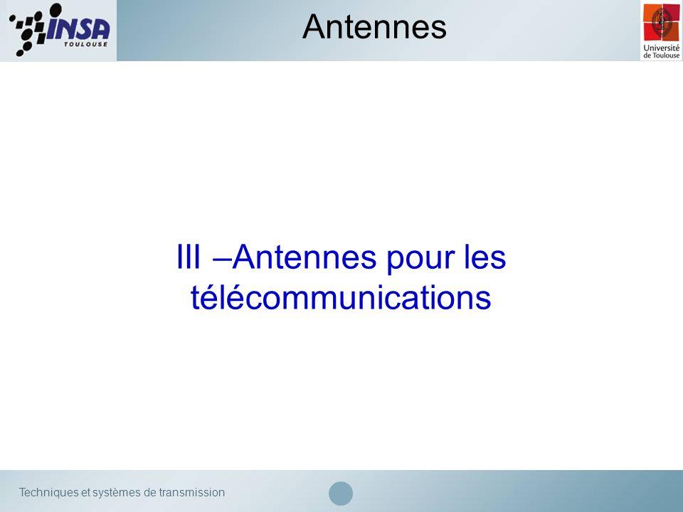 Techniques et systèmes de transmission III –Antennes pour les télécommunications Antennes