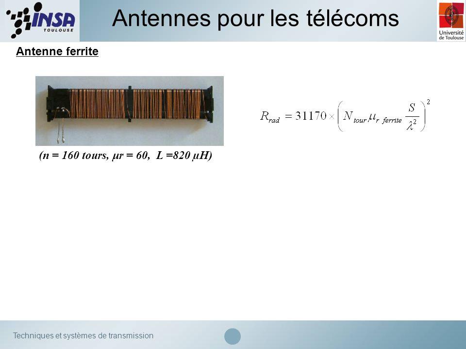 Techniques et systèmes de transmission Antennes pour les télécoms Antenne ferrite (n = 160 tours, μr = 60, L =820 µH)