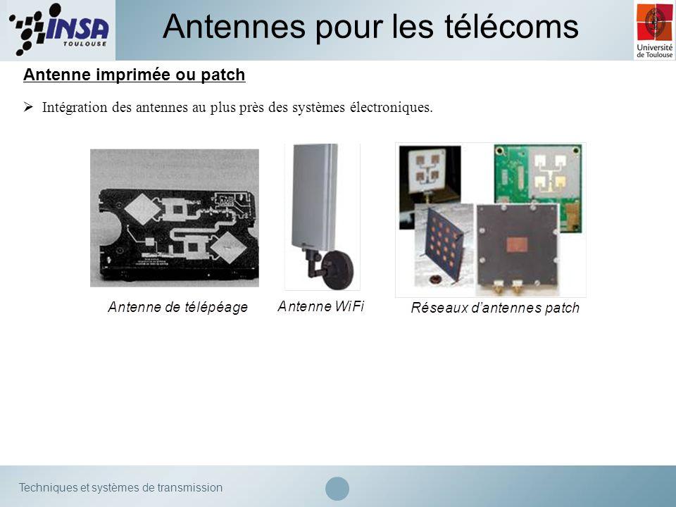 Techniques et systèmes de transmission Antenne imprimée ou patch Antennes pour les télécoms Intégration des antennes au plus près des systèmes électro