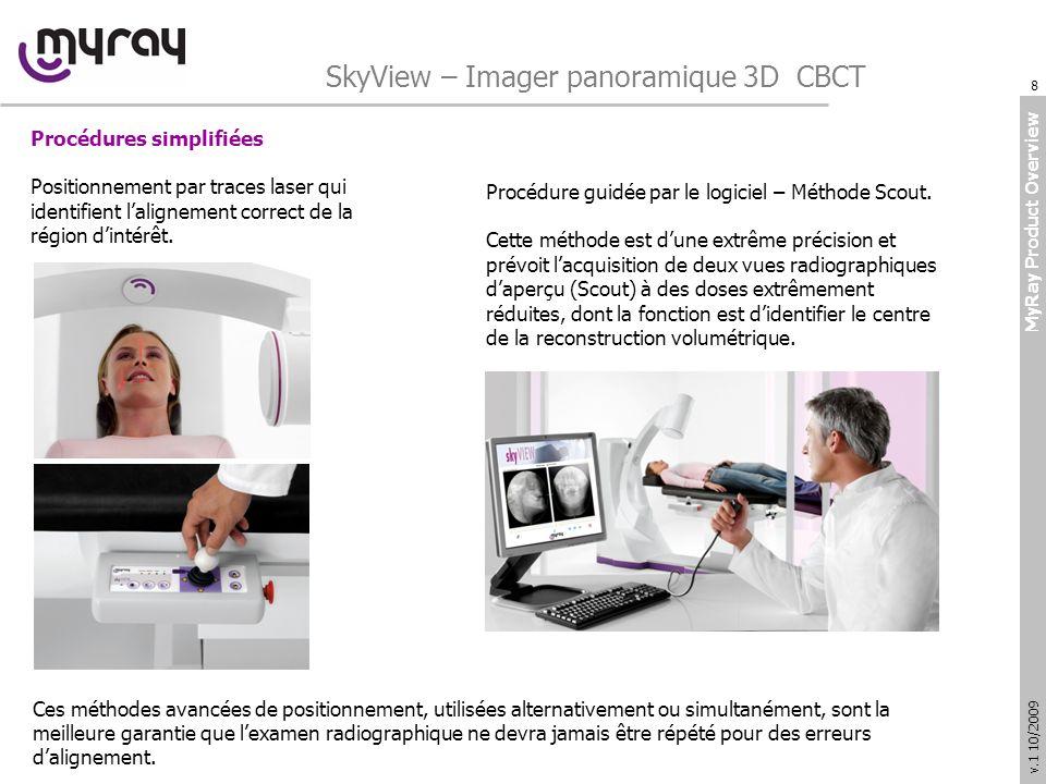 MyRay Product Overview v.1 10/2009 SkyView – Imager panoramique 3D CBCT Procédures guidées pour aider lopérateur SkyView est équipé avec une application logiciel complète pour lacquisition et lélaboration des images volumétriques.