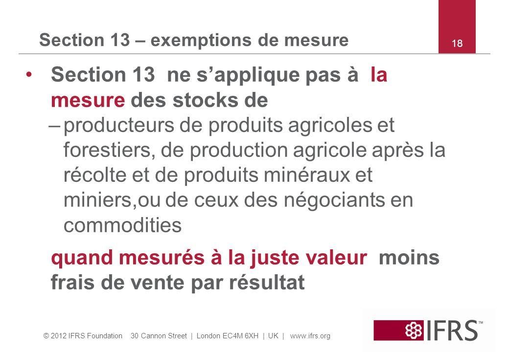 © 2012 IFRS Foundation 30 Cannon Street | London EC4M 6XH | UK | www.ifrs.org Section 13 – exemptions de mesure Section 13 ne sapplique pas à la mesur