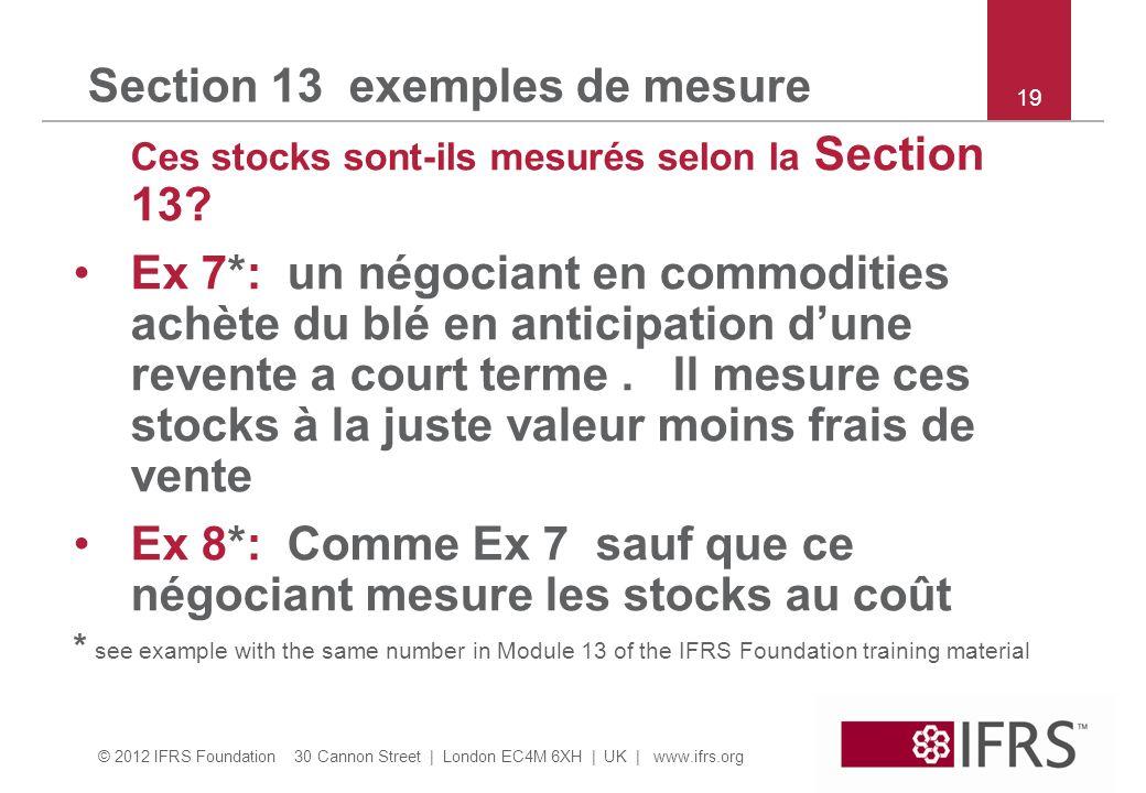 © 2012 IFRS Foundation 30 Cannon Street | London EC4M 6XH | UK | www.ifrs.org Section 13 exemples de mesure Ces stocks sont-ils mesurés selon la Secti