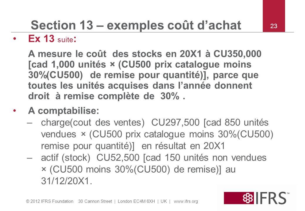 © 2012 IFRS Foundation 30 Cannon Street | London EC4M 6XH | UK | www.ifrs.org 23 Ex 13 suite : A mesure le coût des stocks en 20X1 à CU350,000 [cad 1,