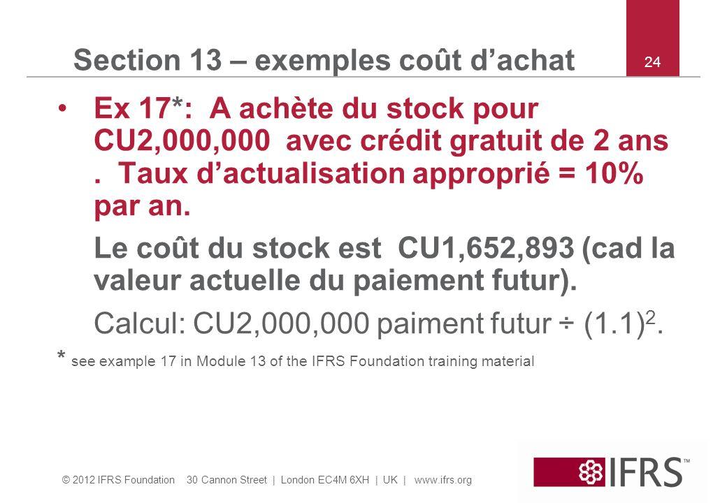 © 2012 IFRS Foundation 30 Cannon Street | London EC4M 6XH | UK | www.ifrs.org 24 Section 13 – exemples coût dachat Ex 17*: A achète du stock pour CU2,000,000 avec crédit gratuit de 2 ans.