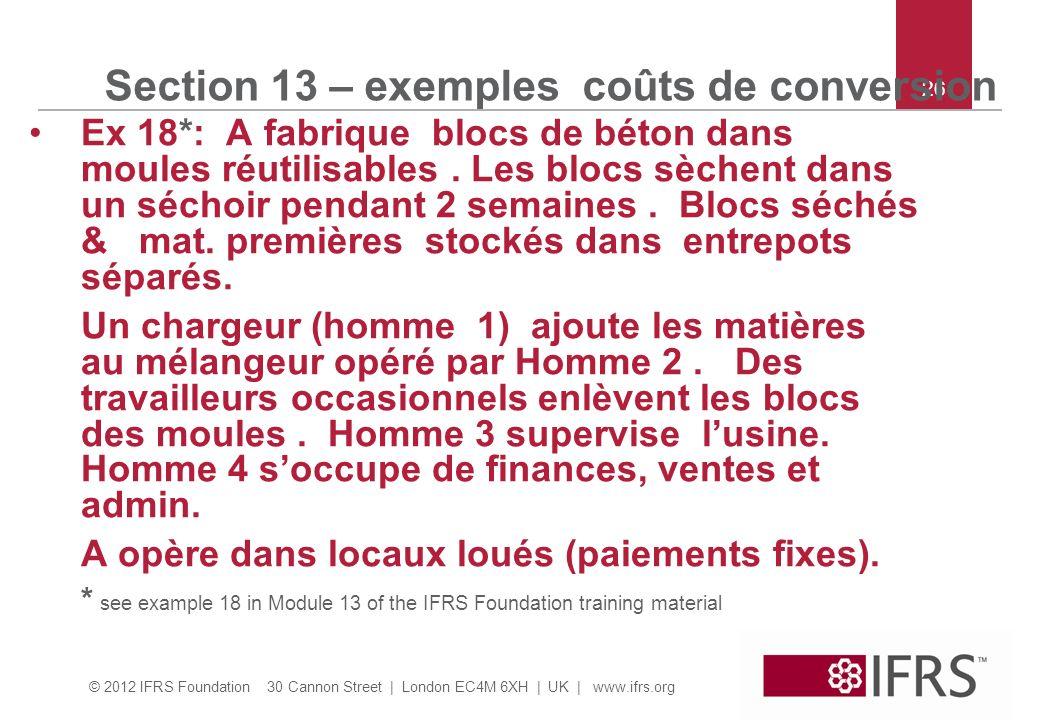© 2012 IFRS Foundation 30 Cannon Street | London EC4M 6XH | UK | www.ifrs.org 26 Section 13 – exemples coûts de conversion Ex 18*: A fabrique blocs de béton dans moules réutilisables.
