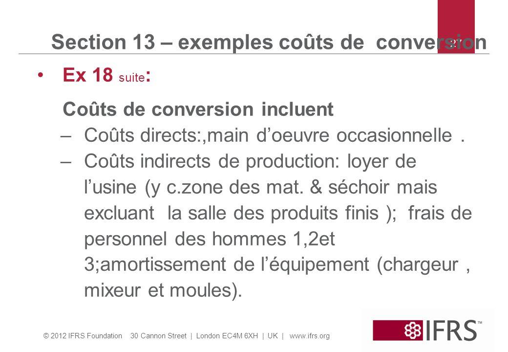 © 2012 IFRS Foundation 30 Cannon Street | London EC4M 6XH | UK | www.ifrs.org 27 Section 13 – exemples coûts de conversion Ex 18 suite : Coûts de conv