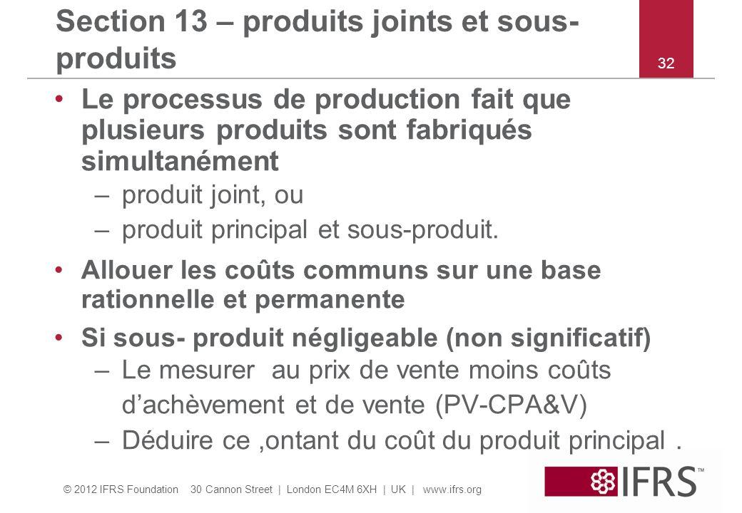 © 2012 IFRS Foundation 30 Cannon Street | London EC4M 6XH | UK | www.ifrs.org 32 Section 13 – produits joints et sous- produits Le processus de production fait que plusieurs produits sont fabriqués simultanément –produit joint, ou –produit principal et sous-produit.