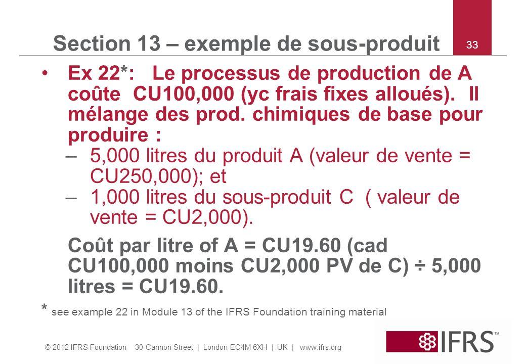 © 2012 IFRS Foundation 30 Cannon Street | London EC4M 6XH | UK | www.ifrs.org 33 Section 13 – exemple de sous-produit Ex 22*: Le processus de producti
