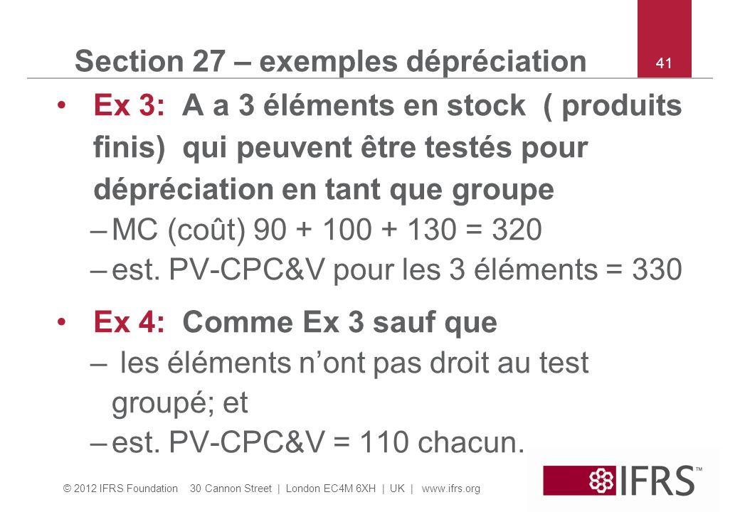 © 2012 IFRS Foundation 30 Cannon Street | London EC4M 6XH | UK | www.ifrs.org 41 Section 27 – exemples dépréciation Ex 3: A a 3 éléments en stock ( produits finis) qui peuvent être testés pour dépréciation en tant que groupe –MC (coût) 90 + 100 + 130 = 320 –est.