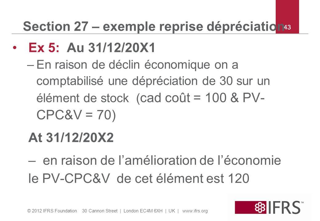 © 2012 IFRS Foundation 30 Cannon Street | London EC4M 6XH | UK | www.ifrs.org 43 Section 27 – exemple reprise dépréciation Ex 5: Au 31/12/20X1 –En raison de déclin économique on a comptabilisé une dépréciation de 30 sur un élément de stock ( cad coût = 100 & PV- CPC&V = 70) At 31/12/20X2 – en raison de lamélioration de léconomie le PV-CPC&V de cet élément est 120