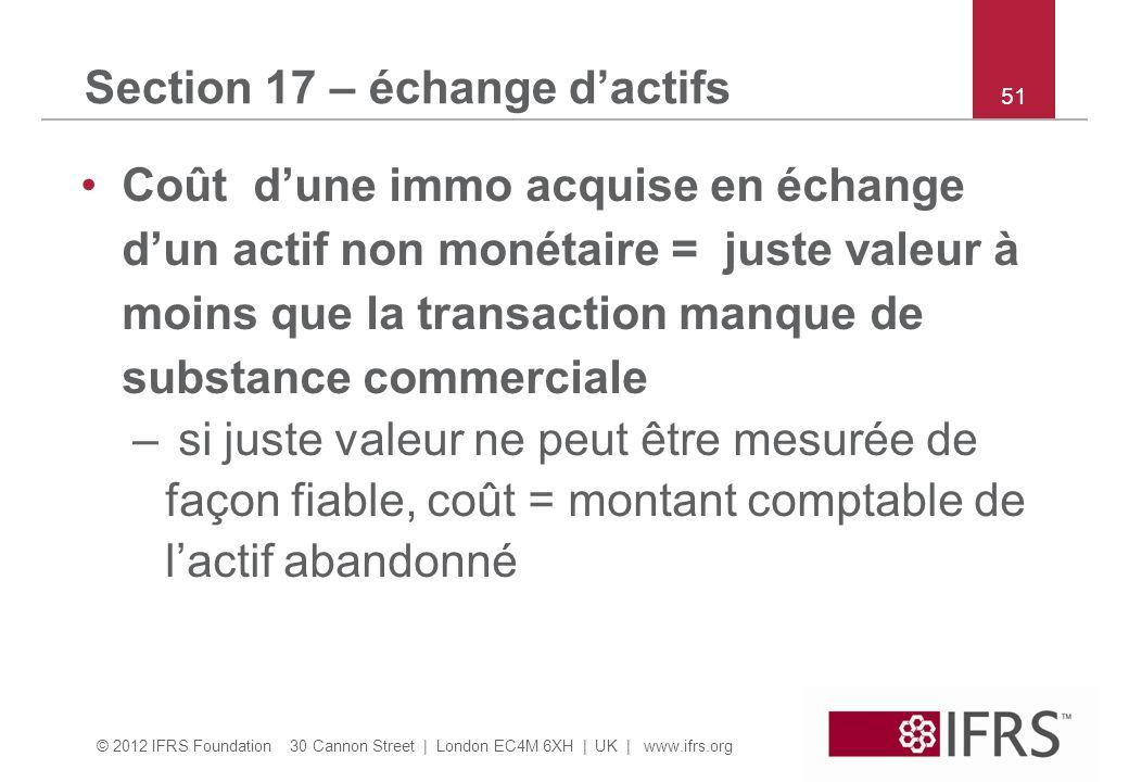 © 2012 IFRS Foundation 30 Cannon Street | London EC4M 6XH | UK | www.ifrs.org 51 Section 17 – échange dactifs Coût dune immo acquise en échange dun ac