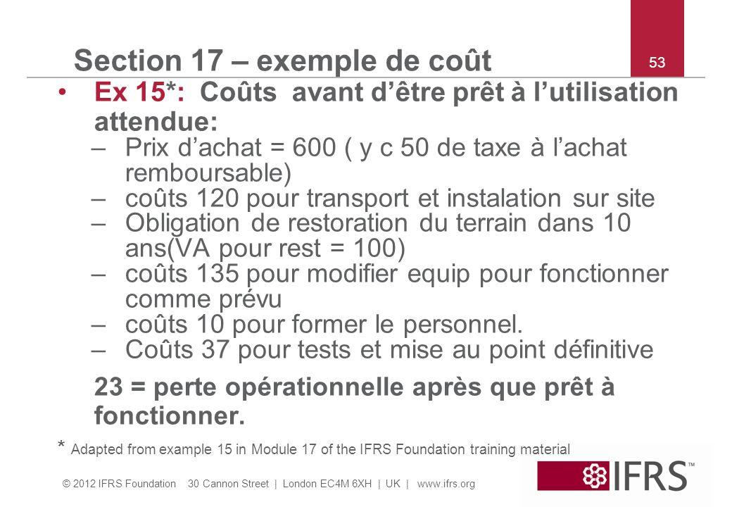 © 2012 IFRS Foundation 30 Cannon Street | London EC4M 6XH | UK | www.ifrs.org 53 Section 17 – exemple de coût Ex 15*: Coûts avant dêtre prêt à lutilis