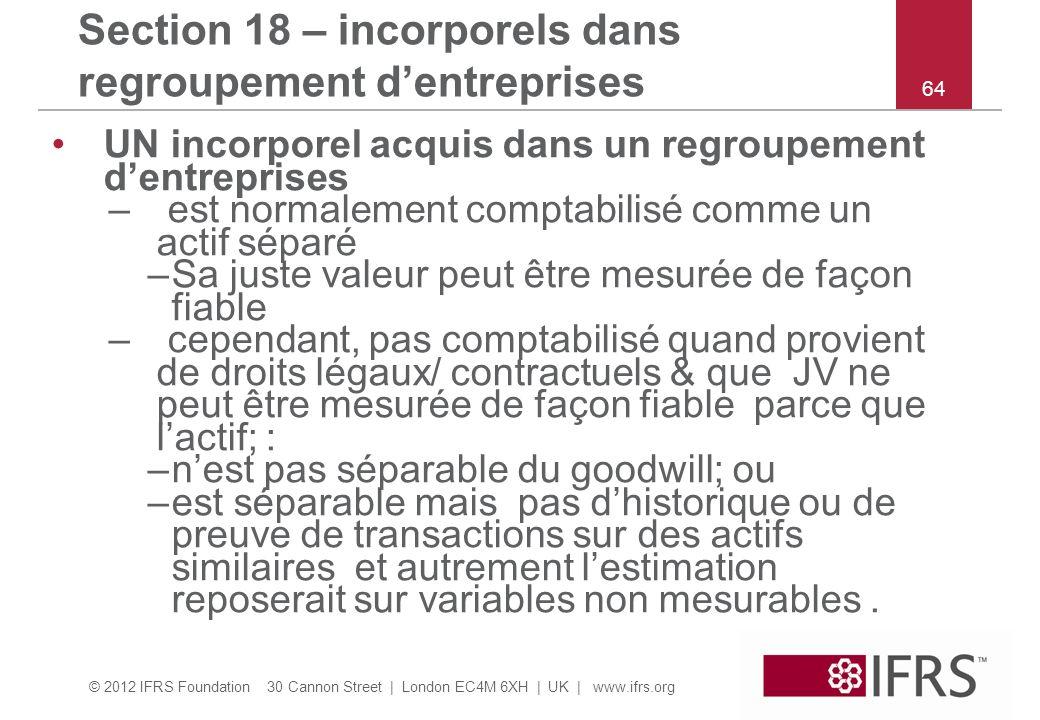 © 2012 IFRS Foundation 30 Cannon Street | London EC4M 6XH | UK | www.ifrs.org 64 Section 18 – incorporels dans regroupement dentreprises UN incorporel