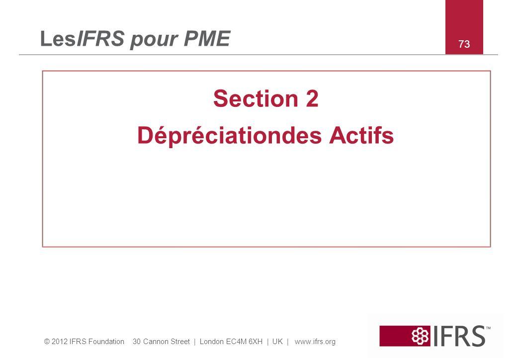 © 2012 IFRS Foundation 30 Cannon Street | London EC4M 6XH | UK | www.ifrs.org 73 LesIFRS pour PME Section 2 Dépréciationdes Actifs