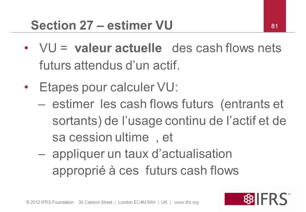 © 2012 IFRS Foundation 30 Cannon Street | London EC4M 6XH | UK | www.ifrs.org 81 Section 27 – estimer VU VU = valeur actuelle des cash flows nets futurs attendus dun actif.
