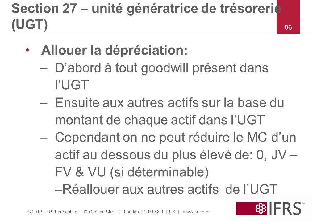 © 2012 IFRS Foundation 30 Cannon Street | London EC4M 6XH | UK | www.ifrs.org 86 Section 27 – unité génératrice de trésorerie (UGT) Allouer la dépréciation: –Dabord à tout goodwill présent dans lUGT –Ensuite aux autres actifs sur la base du montant de chaque actif dans lUGT –Cependant on ne peut réduire le MC dun actif au dessous du plus élevé de: 0, JV – FV & VU (si déterminable) –Réallouer aux autres actifs de lUGT