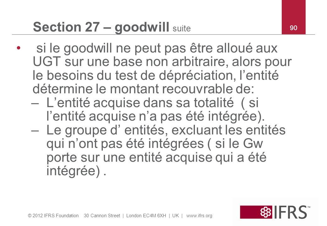 © 2012 IFRS Foundation 30 Cannon Street | London EC4M 6XH | UK | www.ifrs.org 90 Section 27 – goodwill suite si le goodwill ne peut pas être alloué au