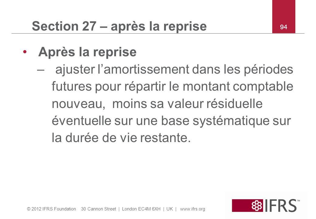 © 2012 IFRS Foundation 30 Cannon Street | London EC4M 6XH | UK | www.ifrs.org 94 Section 27 – après la reprise Après la reprise – ajuster lamortisseme