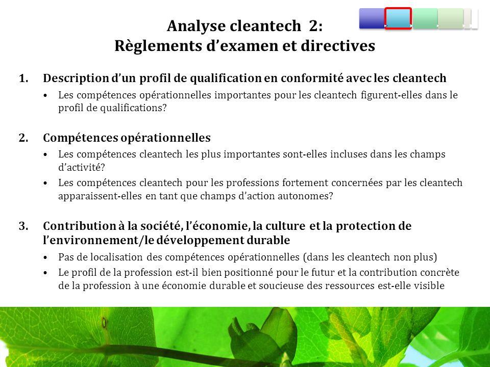 Analyse cleantech 2: Règlements dexamen et directives 1.Description dun profil de qualification en conformité avec les cleantech Les compétences opérationnelles importantes pour les cleantech figurent-elles dans le profil de qualifications.