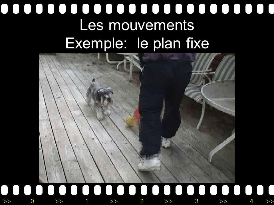 >>0 >>1 >> 2 >> 3 >> 4 >> Les mouvements Exemple: le plan fixe