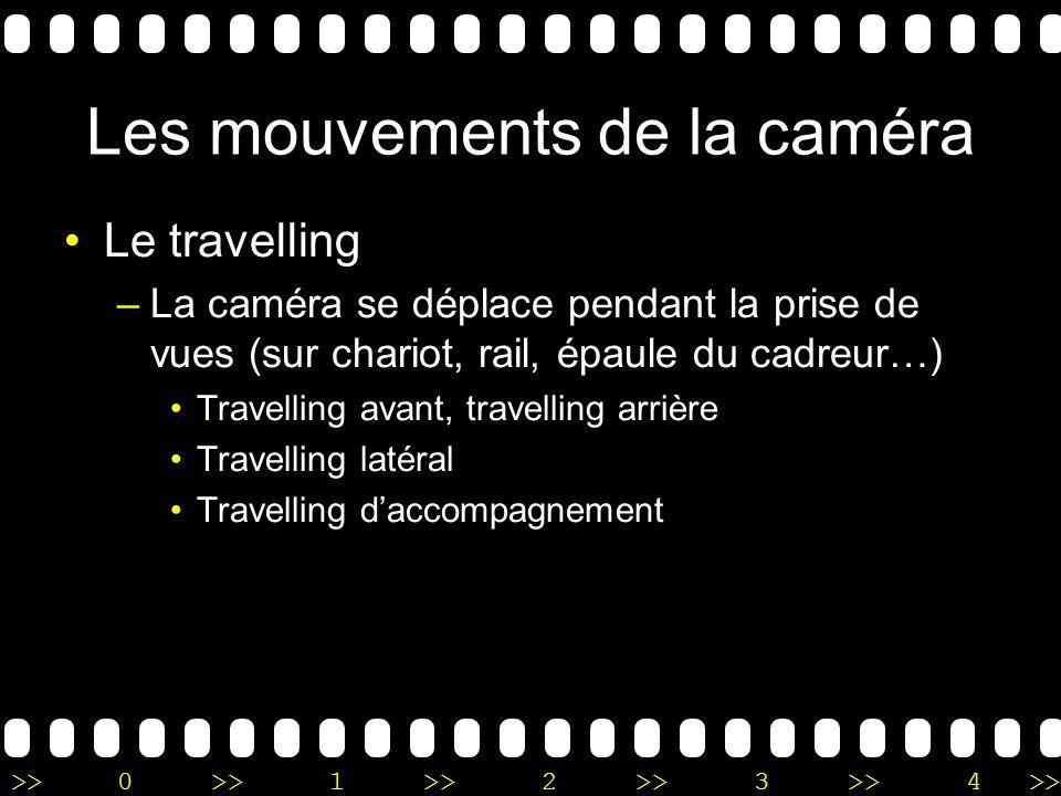 >>0 >>1 >> 2 >> 3 >> 4 >> Les mouvements de la caméra Le travelling –La caméra se déplace pendant la prise de vues (sur chariot, rail, épaule du cadre