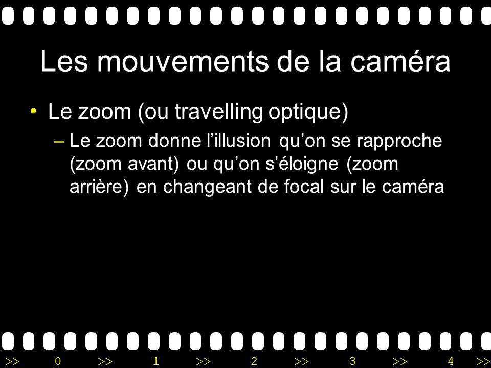>>0 >>1 >> 2 >> 3 >> 4 >> Les mouvements de la caméra Le zoom (ou travelling optique) –Le zoom donne lillusion quon se rapproche (zoom avant) ou quon