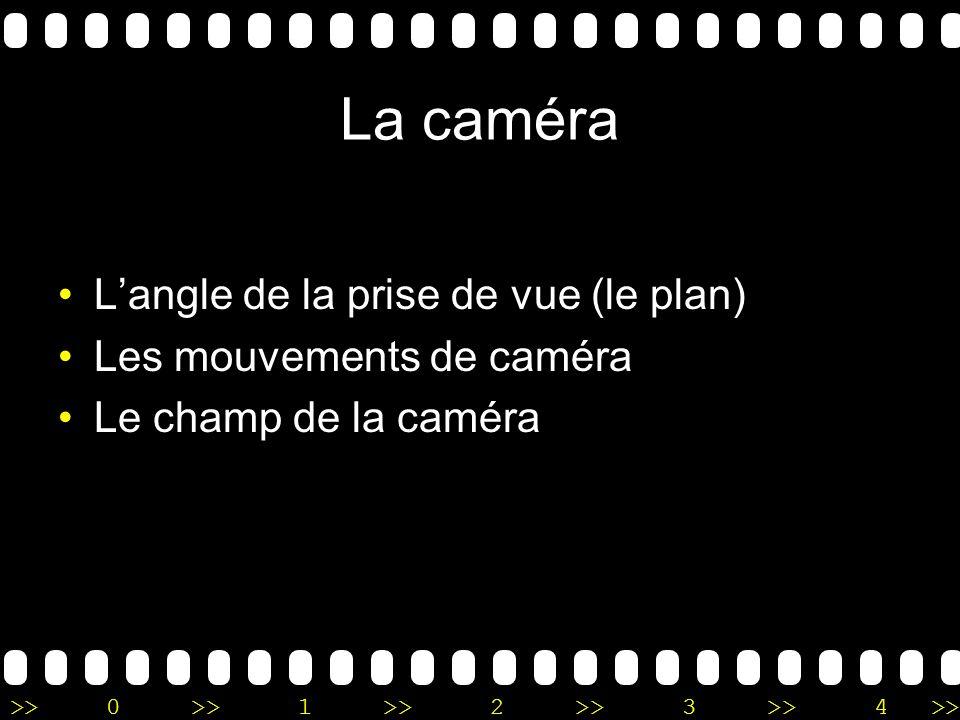 >>0 >>1 >> 2 >> 3 >> 4 >> La caméra Langle de la prise de vue (le plan) Les mouvements de caméra Le champ de la caméra