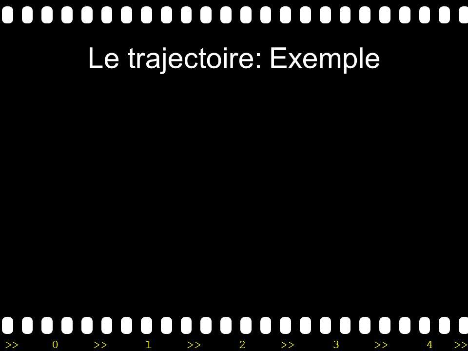 >>0 >>1 >> 2 >> 3 >> 4 >> Le trajectoire: Exemple