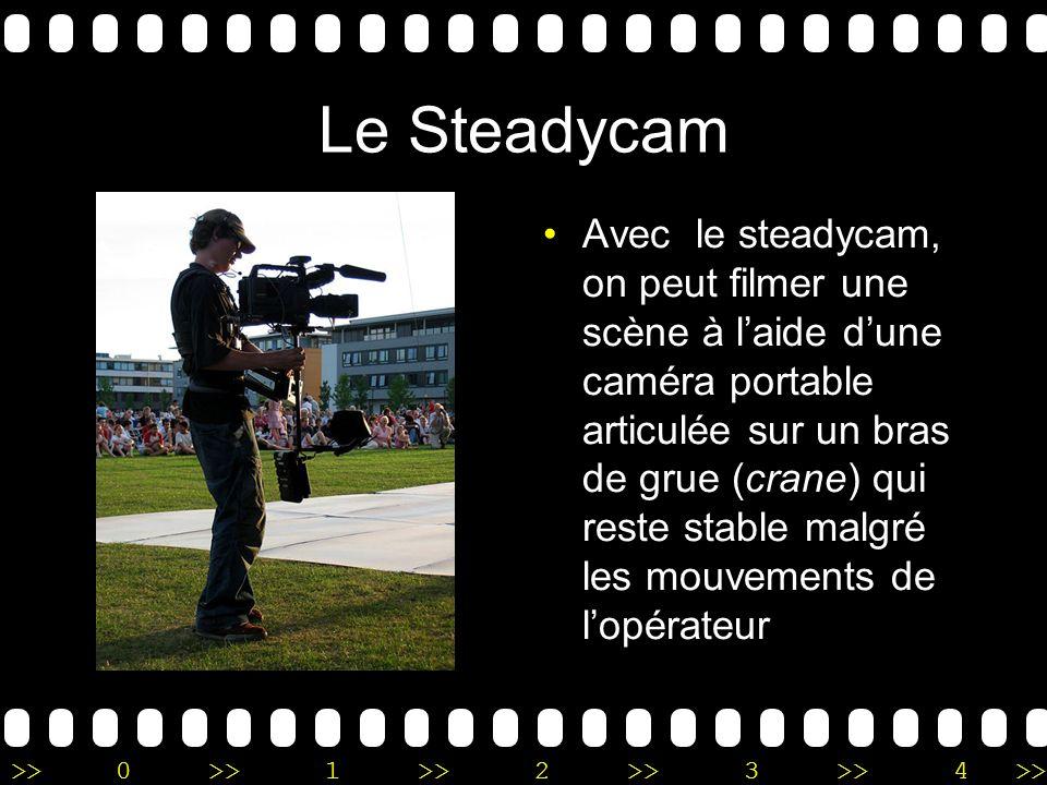 >>0 >>1 >> 2 >> 3 >> 4 >> Le Steadycam Avec le steadycam, on peut filmer une scène à laide dune caméra portable articulée sur un bras de grue (crane)