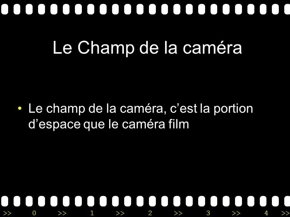 >>0 >>1 >> 2 >> 3 >> 4 >> Le Champ de la caméra Le champ de la caméra, cest la portion despace que le caméra film