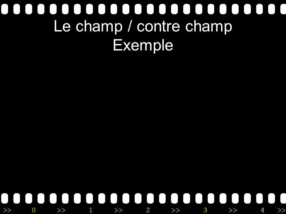 >>0 >>1 >> 2 >> 3 >> 4 >> Le champ / contre champ Exemple
