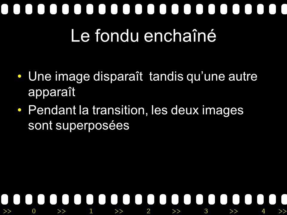 >>0 >>1 >> 2 >> 3 >> 4 >> Le fondu enchaîné Une image disparaît tandis quune autre apparaît Pendant la transition, les deux images sont superposées
