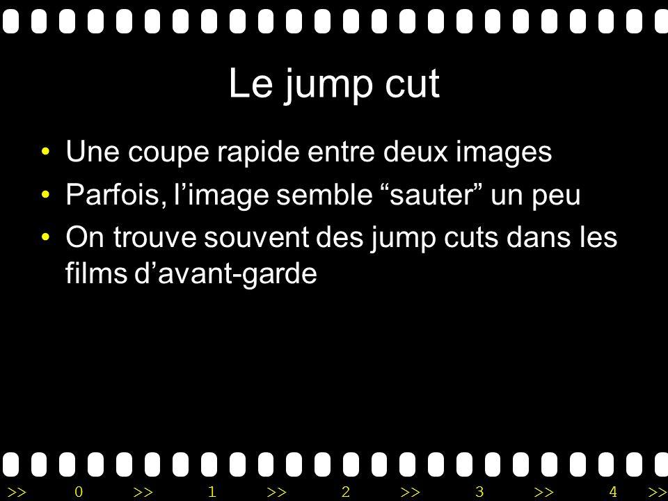 >>0 >>1 >> 2 >> 3 >> 4 >> Le jump cut Une coupe rapide entre deux images Parfois, limage semble sauter un peu On trouve souvent des jump cuts dans les