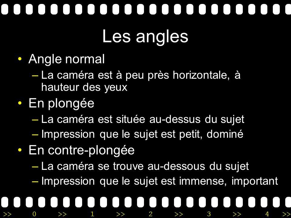 >>0 >>1 >> 2 >> 3 >> 4 >> Les angles Angle normal –La caméra est à peu près horizontale, à hauteur des yeux En plongée –La caméra est située au-dessus