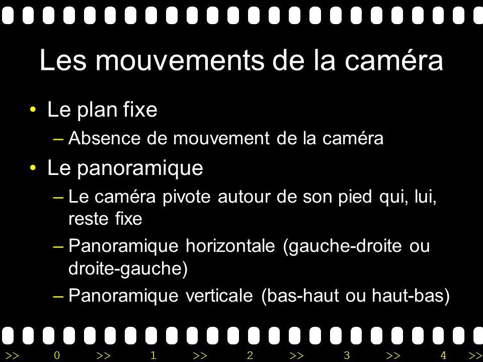 >>0 >>1 >> 2 >> 3 >> 4 >> Les mouvements de la caméra Le plan fixe –Absence de mouvement de la caméra Le panoramique –Le caméra pivote autour de son p