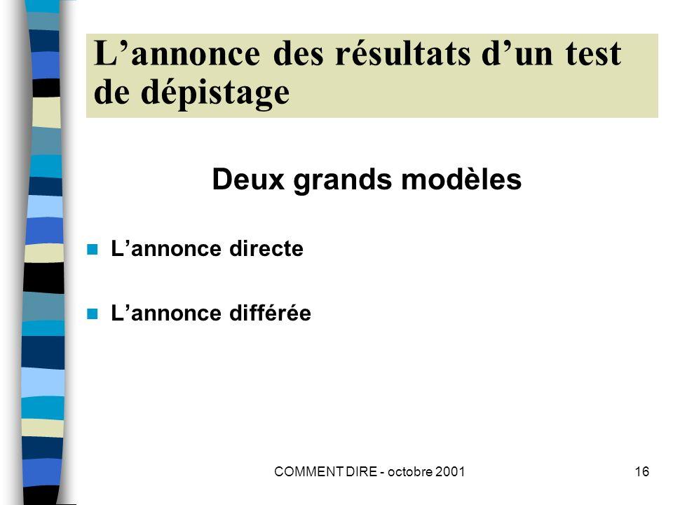COMMENT DIRE - octobre 200116 Lannonce des résultats dun test de dépistage Deux grands modèles Lannonce directe Lannonce différée