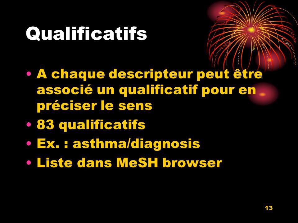 13 Qualificatifs A chaque descripteur peut être associé un qualificatif pour en préciser le sens 83 qualificatifs Ex.