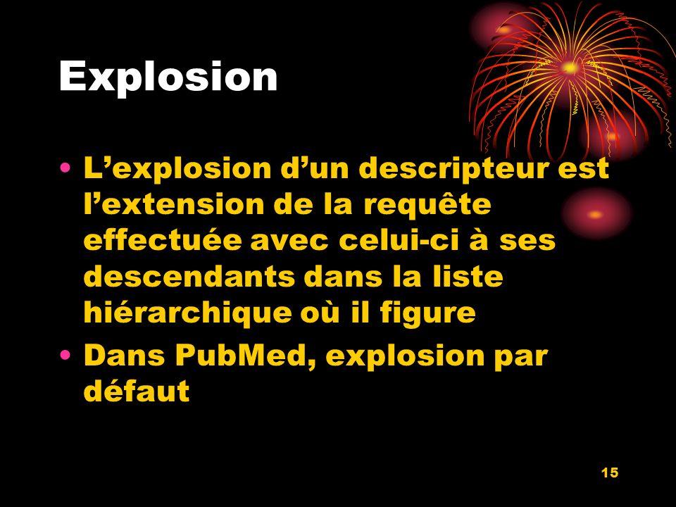 15 Explosion Lexplosion dun descripteur est lextension de la requête effectuée avec celui-ci à ses descendants dans la liste hiérarchique où il figure Dans PubMed, explosion par défaut