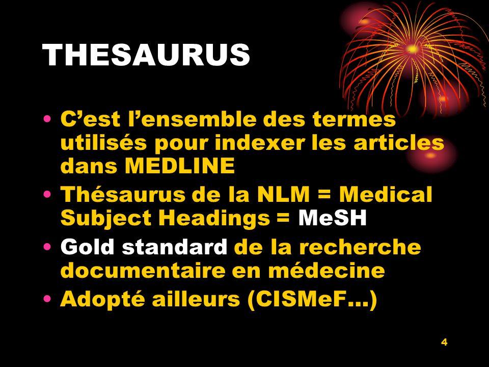 4 THESAURUS Cest lensemble des termes utilisés pour indexer les articles dans MEDLINE Thésaurus de la NLM = Medical Subject Headings = MeSH Gold standard de la recherche documentaire en médecine Adopté ailleurs (CISMeF…)