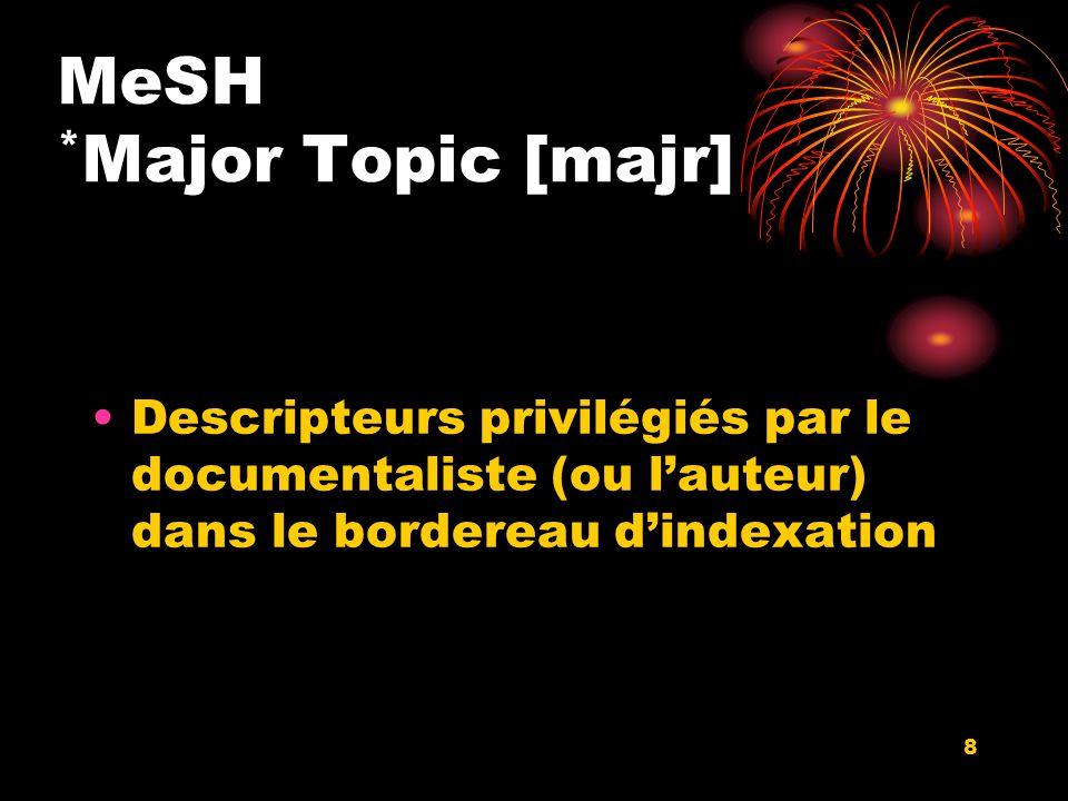 8 MeSH * Major Topic [majr] Descripteurs privilégiés par le documentaliste (ou lauteur) dans le bordereau dindexation