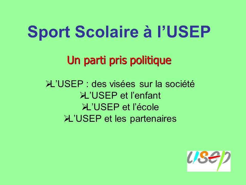 Sport Scolaire à lUSEP LUSEP : des visées sur la société LUSEP et lenfant LUSEP et lécole LUSEP et les partenaires Un parti pris politique