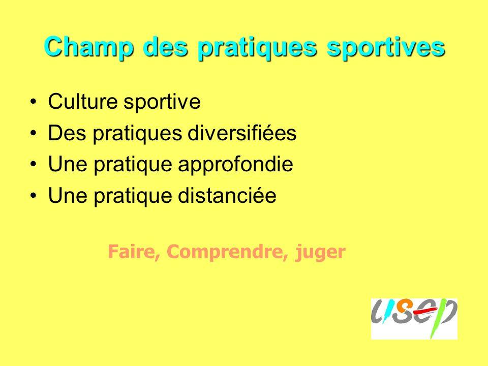 Champ des pratiques sportives Culture sportive Des pratiques diversifiées Une pratique approfondie Une pratique distanciée Faire, Comprendre, juger