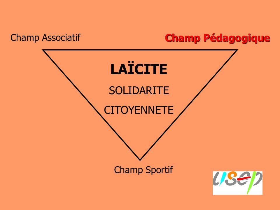 Champ Pédagogique Champ Associatif Champ Sportif LAÏCITE SOLIDARITE CITOYENNETE