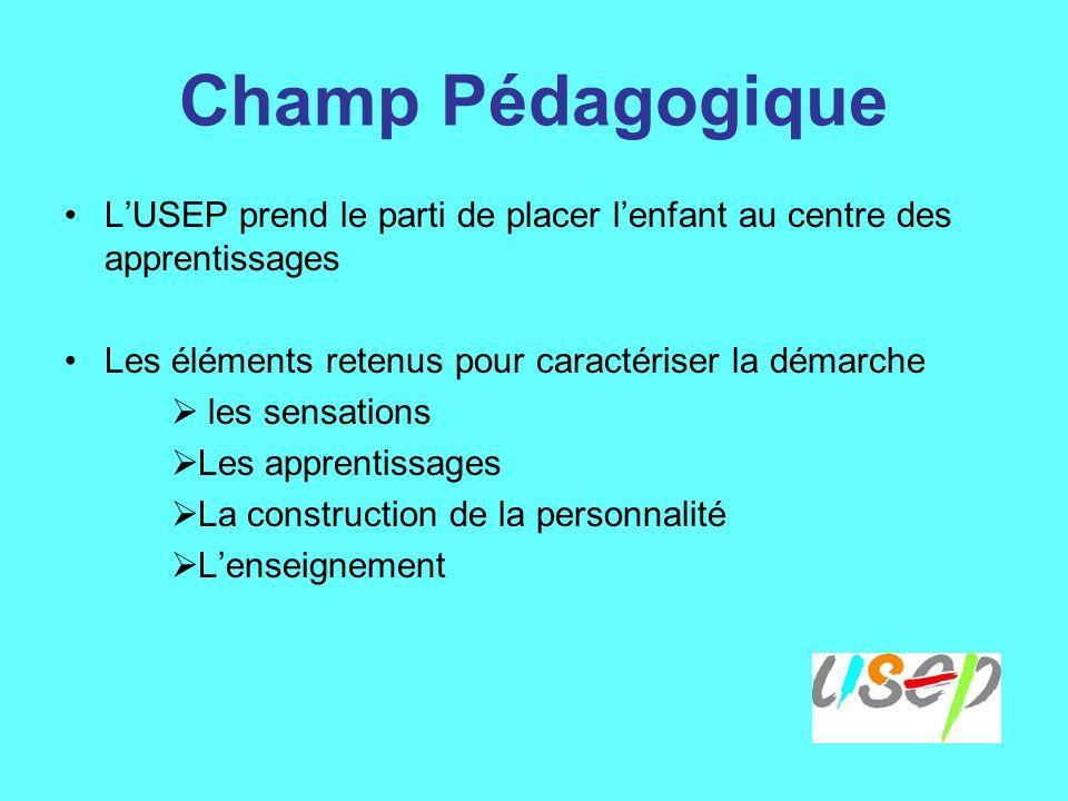 Champ Pédagogique LUSEP prend le parti de placer lenfant au centre des apprentissages Les éléments retenus pour caractériser la démarche les sensations Les apprentissages La construction de la personnalité Lenseignement