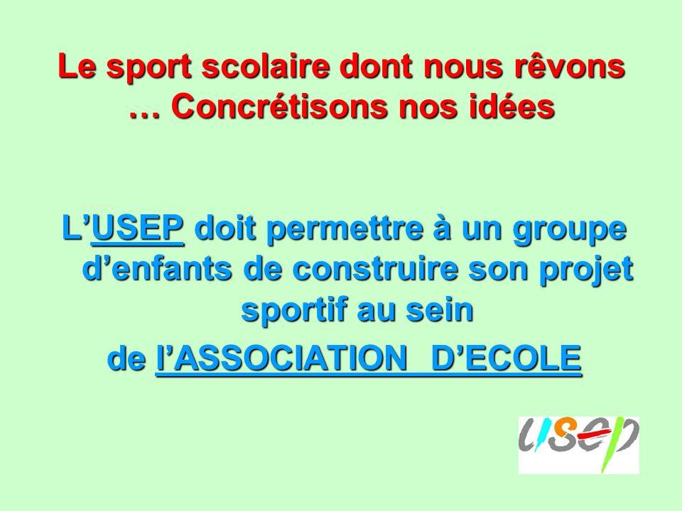 Le sport scolaire dont nous rêvons … Concrétisons nos idées LUSEP doit permettre à un groupe denfants de construire son projet sportif au sein de lASSOCIATION DECOLE