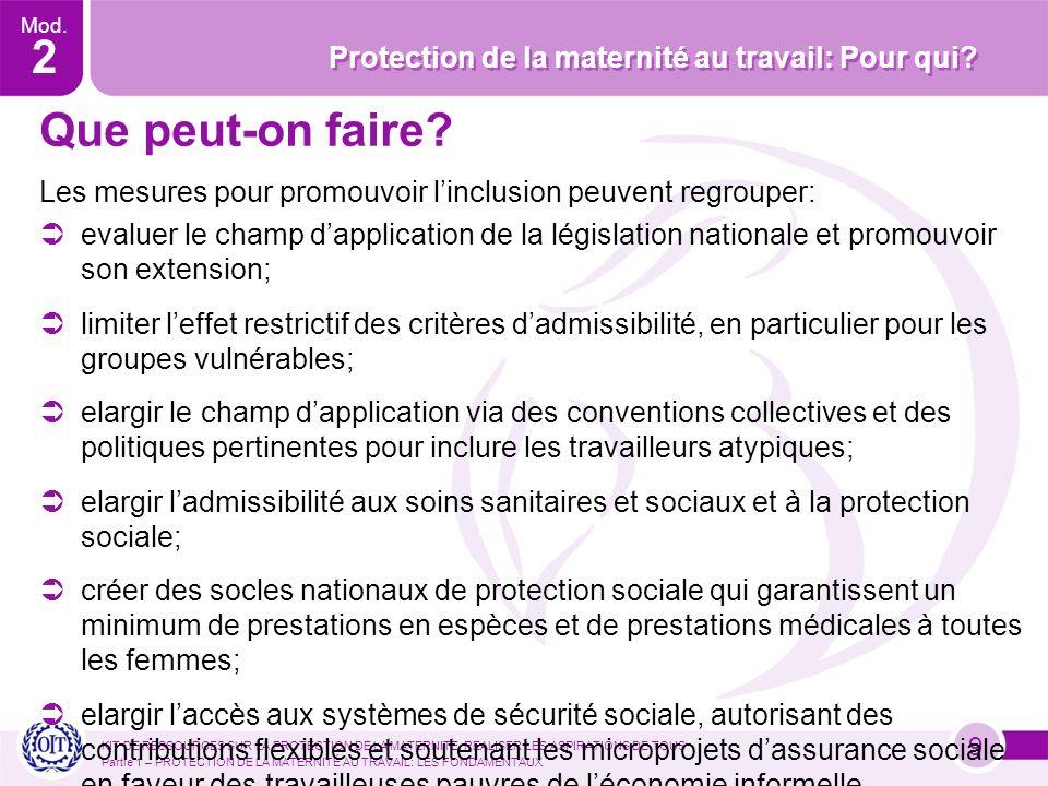 Mod. 2 Protection de la maternité au travail: Pour qui.