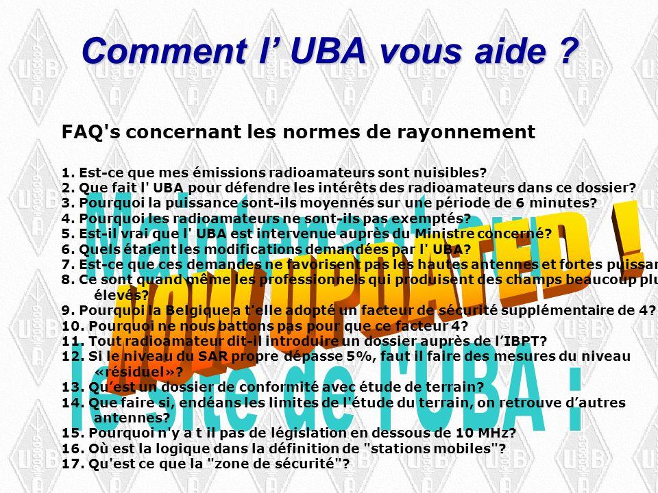 Comment l UBA vous aide . FAQ s concernant les normes de rayonnement 1.