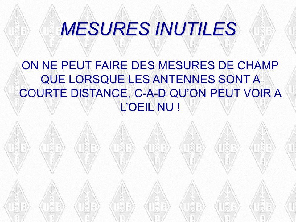 MESURES INUTILES ON NE PEUT FAIRE DES MESURES DE CHAMP QUE LORSQUE LES ANTENNES SONT A COURTE DISTANCE, C-A-D QUON PEUT VOIR A LOEIL NU .